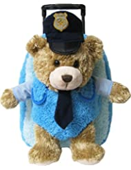 Kreative Kids 38218 Plush Police Chief Bear Roller Backpack w/ Removable Animal