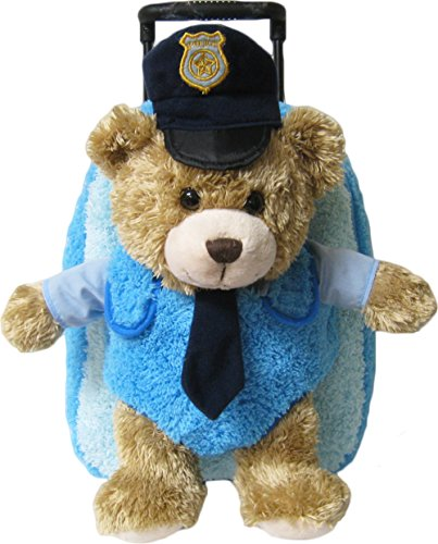 Kreative Kids Police Chief Bear Plush Rolling Backpack w/Removable Animal & Wheels -