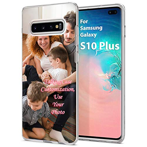 TalkingCase Custom,Personalized Phone Cover for Samsung Galaxy S10 Plus,Clear Superior Skin Gel Phone Cover,Ultra Soft Silicone TPU wCorner Bumper,Your Family Photo Here,Design in USA