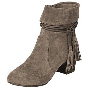 Breckelle's Women's Closed Toe Cuff Tassel Chunky Stacked Mid Heel Ankle Bootie,8.5 B(M) US,Beige