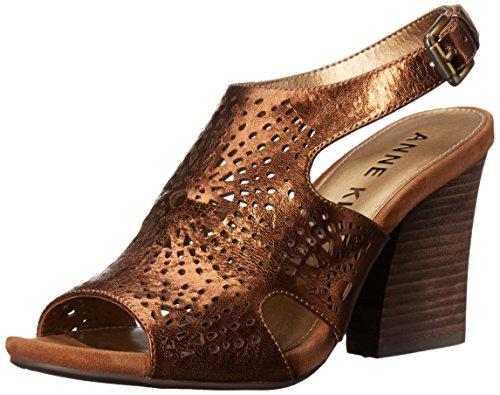 Anne Klein Womens Briella Leather Heeled Sandal Bronze zxB8dvpXJ