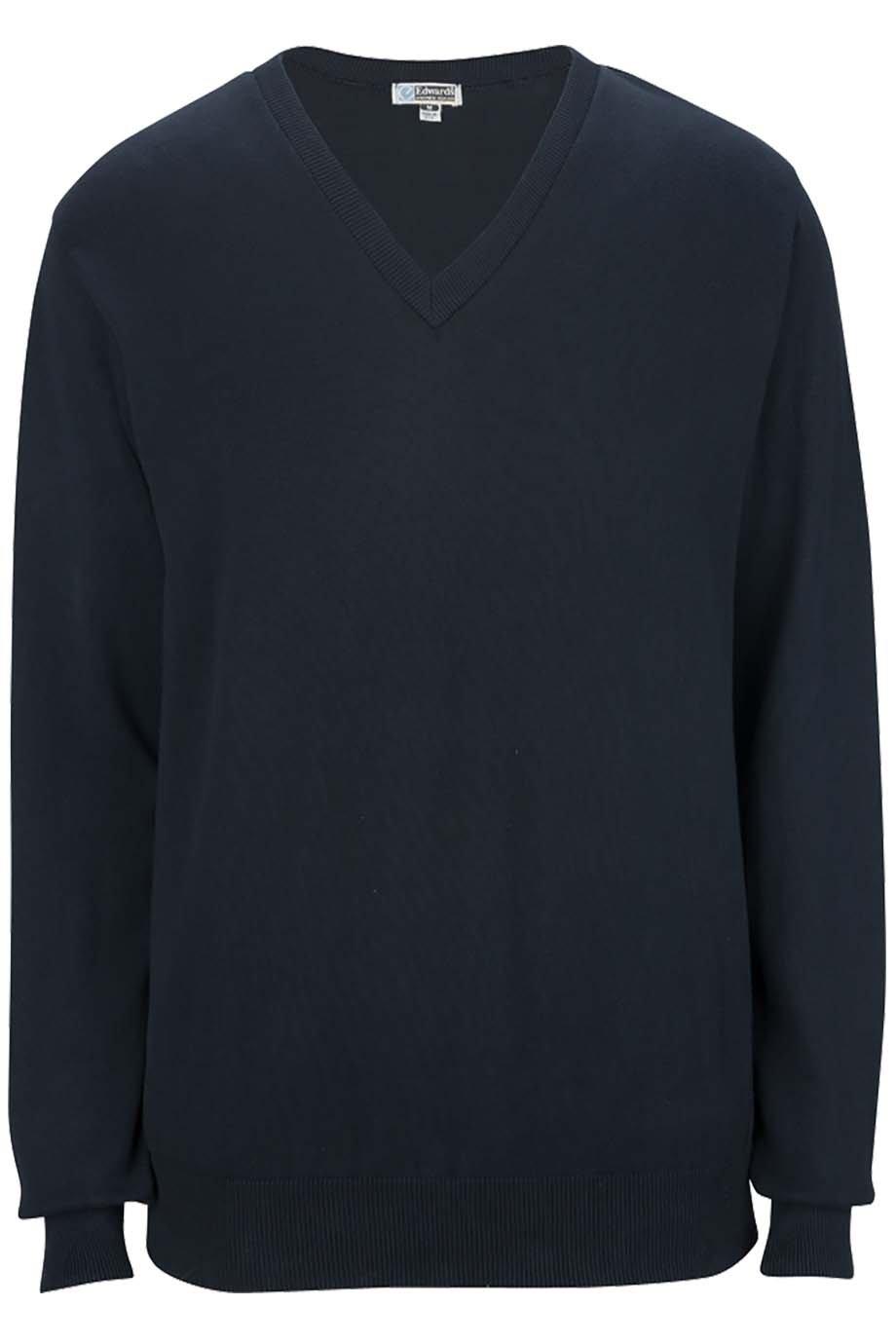 Edwards Ed Garment Men'S Fine Gauge Soft V Neck Cuff Cotton Sweater, Navy, 2XL