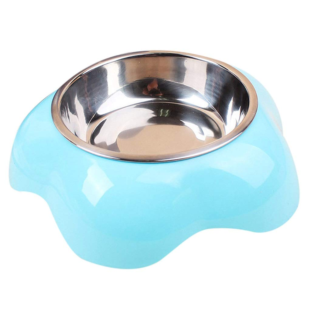 bluee NYDZDM Pet Cat Puppy Stainless Steel Travel Food Feeding Water Drinking Bowl Candy color Puppy Outdoor Dog Bowl (color   bluee)