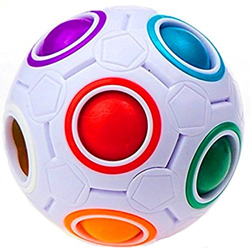 DishyKooker Plastic Cube Rainbow Magic Ball Puzzle Fun Fidget Children's Educational Toy Stress Reliever(1 Piece)]()