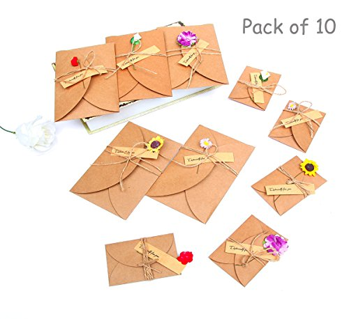 AOQING 10pcs Handmade Dried Flowers Greeting Cards with Creative DIY Vintage Kraft Paper Envelope, Thank You Card for Mom, Wife and Friends – Blessing…