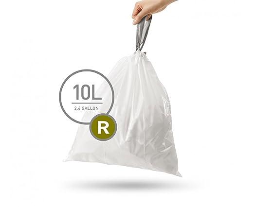 simplehuman Code R Custom Fit Drawstring Trash Bags, 10 L / 2.6 Gallon, 1 Refill Pack (20 Count)