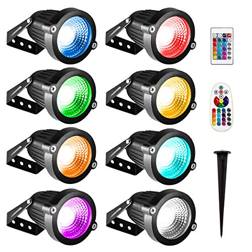 INNERWILL Flood Lights 6W Color Changing RGB LED Landscape Lights 8Pack 12V-24V Low Voltage Spotlight Outdoor Wall Light Waterproof with Remote Control for Yard, Garage, Garden, Hallway