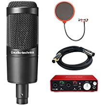 Audio-Technica (AT2035) Cardioid Condenser Microphone Bundle with Scarlett USB Audio Interface, Universal Pop Filter Microphone Wind Screen and 6ft Premier Series XLR Male - Female Cable