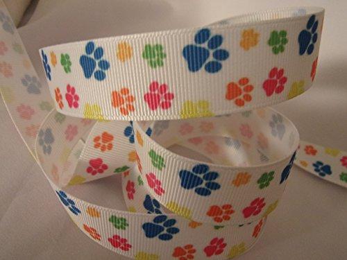 Grosgrain Ribbon - Multi Colored Paw Print - 7/8