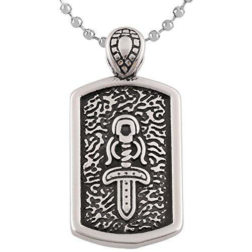 Men's Stainless Steel Cross & DogTag Sword Pendant Chain Necklace (Sword Dog Pendant Tag)