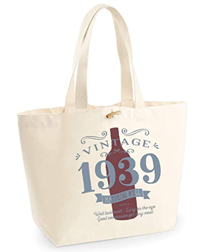 80th Birthday Keepsake Funny Gift Gifts For Women Novelty Ladies Female Vintage Red Wine Shopping Bag Present