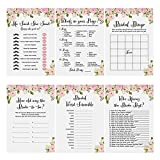 "Flower Bridal Shower Games, 6 Pack 30 Sheets Each Wedding Anniversary Game Cards Includes ""Who knows the Bride Best?"",5x7Inch"