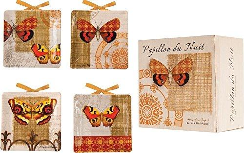 Manual Papillion Du Nuit Butterfly Mini Decorative Plate Set of Four By Sandy Clough