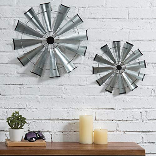 MyGift Vintage Galvanized Silver Metal Windmill Wall Sculptures