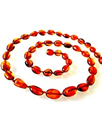 Baltic Amber Necklace / Women / Olive Beads / Healing Amber Necklace / Certified Genuine Baltic Amber
