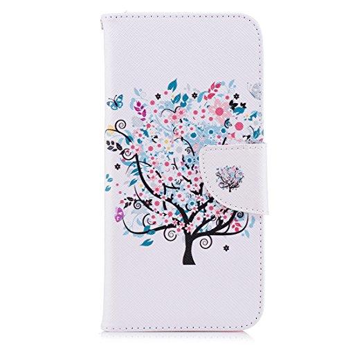 de aérosol portefeuille PU peint Flip magnétique conception ThinQ en d'impression carte cas LG support Flower cuir G7 protection fente pour Hozor en étui G710EM avec fermeture tree avec 8HqvP