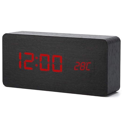 Multicolor LED reloj Despertador de madera Mesa Control de voz ...