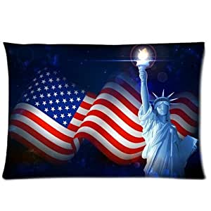 American Flag and Statue Of Liberty Pillowcases 20x26 Inch