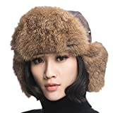 URSFUR Aviator Hat with Brown Rabbit Fur