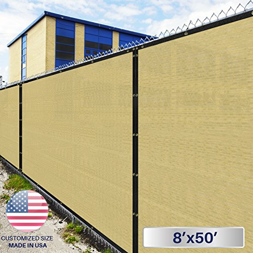 Windscreen4less Heavy Duty Privacy Screen Fence in Color Tan with White Stripes 8′ x 50′ Brass Grommets w/3-Year Warranty 150 GSM (Customized