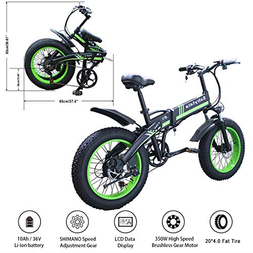 """KEANTY 20"""" Folding Electric Mountain Bike, Fat Tire Electric Bike Beach Snow Mountain Bicycle with 36V/10AH Large Capacity Lithium Battery and Two Cycling Modes (Green)"""