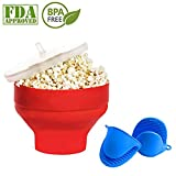 amish cooking gloves - Microwave Popcorn Popper with Lid, Silicone Popcorn Maker with Mini Oven Mitts 1 Pair , Collapsible Bowl BPA Free