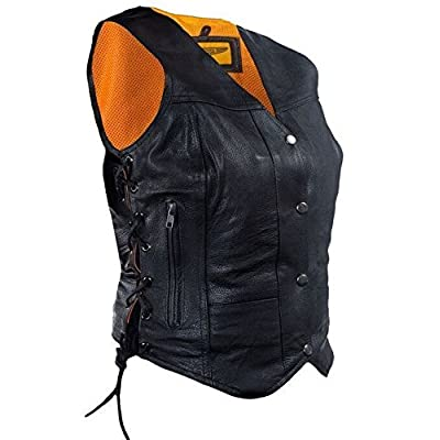 Dream Women's Side Laces Great Price Motorcycle Black Leather Vest with 7 Pocket
