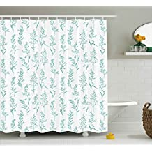 Ambesonne House Decor Collection, Floral Pattern Moderate Essential Botanical Herbs Flower Plants Fresh Twigs Organic Theme, Polyester Fabric Bathroom Shower Curtain, 84 Inches Extra Long, Green Cream
