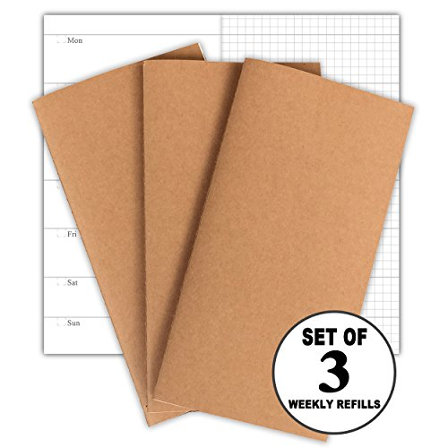 Travelers Notebook Inserts 3-Pack Weekly Planner Refills, 30 Weeks Per Book, 100g No Bleed Paper, Standard Size 4.25 x 8.25 in
