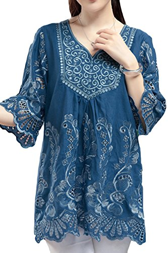 AsherFashion Women Linen Shirts Embroidered Tunic Peasant Tops (Medium=Asian Tag X-Large, Blue) (Embroidered Vintage Linen)