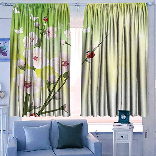 AndyTours Outdoor Curtains,Ladybugs Decorations,Waterproof Patio Door Panel,W72x63L Inches Green Pink