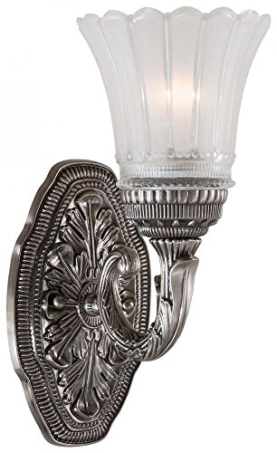Minka Lavery Wall Sconce Lighting 5761-2560-84, Europa Glass Damp Bath Vanity Fixture, 1 Light, 100 Watts, Nickel