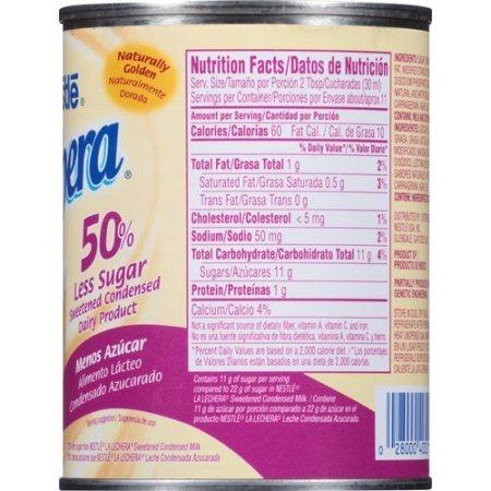 Amazon.com : Nestle La Lechera 50% Less Sugar Sweetened Condensed Milk 14.4oz Can (Pack of 6) : Grocery & Gourmet Food