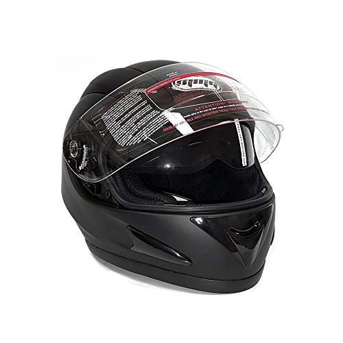 Motorcycle Full Face Helmet DOT Street Legal DOUBLE VISOR Comes with Clear Flip Up Shield and Retractable Inner Smoked Shield - Matte Black (Medium)