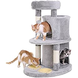 SONGMICS Multi-Level Cat Tree with 2 Feeder Bowls, Sisal-Covered Scratching Posts, Dual Condo, Activity Centre Playhouse Cat Tower Furniture, Light Grey UPCT58W