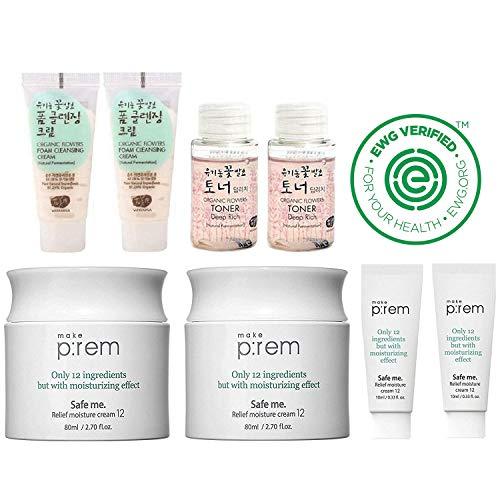 MAKEP REM Safe Me. Relief Moisture Cream l 80ml x 2 20ml Whamisa Organic Essence Toner 40ml, Foaming Gel 40ml Hypoallergenic Day Cream Night Cream for Sensitive Skin by MAKEPREM MAKE P REM