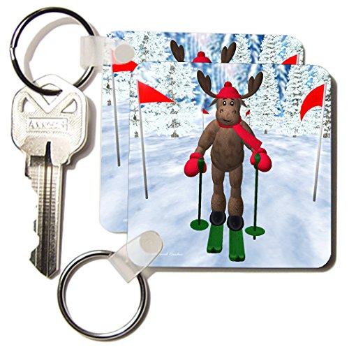3d Rose 3dRose Cross Country Skiing Reindeer - Key Chains...