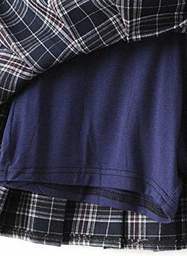 Skirt Navy Fashion Pleated Women's Mini Achicgirl Plaid Pattern TYOpq1