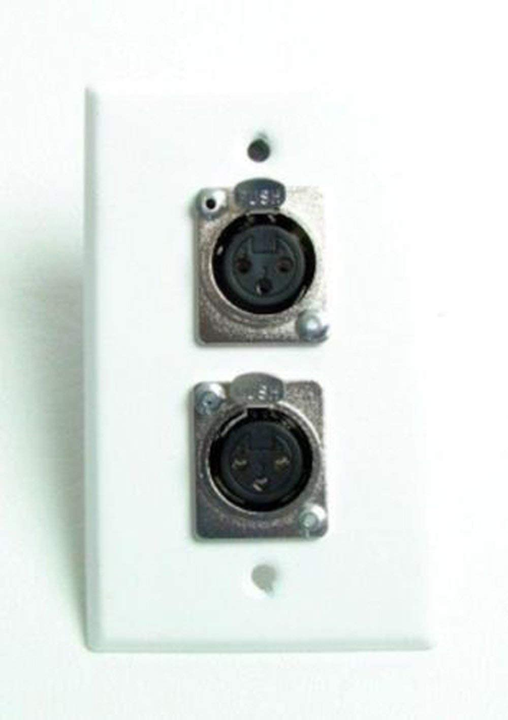 ProCraft White Stainless Wall Plate Loaded w// 2 Female Mic Inputs XLR Connectors