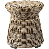 East at Main Aikman Brown Round Rattan Accent End Table, (20x20x22)