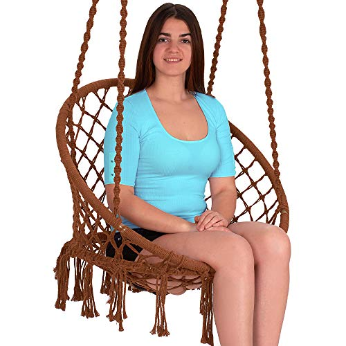 Ebung Macramé Hammock Chair Hanging Swing Seat - Elegant and Classy Knotted Design - 100% Cotton - Durable and Strong - Ideal for Both Indoors and Outdoors - Be it - Swing Hammock Seat