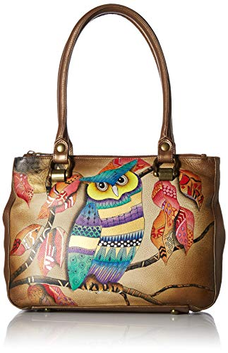 Anuschka Hand Painted Leather Women's Triple Compartment Medium Tote, magical night
