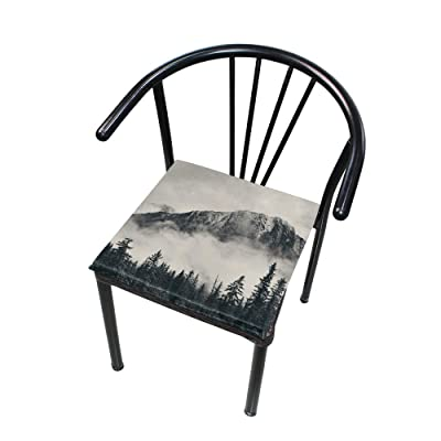 "Bardic HNTGHX Outdoor/Indoor Chair Cushion Forest Tree Foggy Square Memory Foam Seat Pads Cushion for Patio Dining, 16"" x 16"": Home & Kitchen"