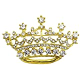SoulBreezeCollection Princess Crown Tiara Brooch Pin Wedding Bridesmaid Clear Rhinestones Jewelry (Gld)