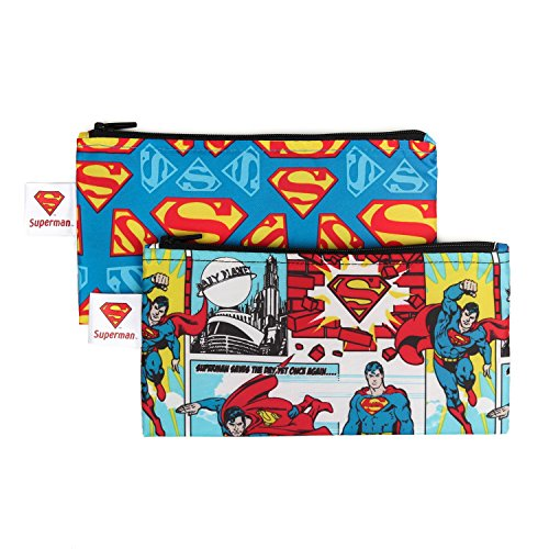 Bumkins DC Comics Superman Snack Bags, Reusable, Washable, Food Safe, BPA Free, 2-Pack