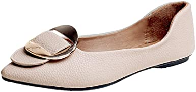 Cywulin Womens Comfortable Buckle Point Toe Slip On Ballet Sweet Flat Dress Shoes Elegant Cute Ballerina Fashion Lazy Loafer