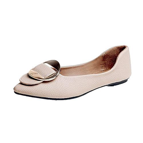 Mujeres Damas Moda SóLido Punta Estrecha TalóN Plano Mocasines Informales Zapatos Solos: Amazon.es: Zapatos y complementos