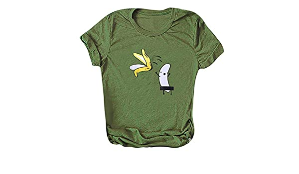 KINTRADE Mujeres Niñas Verano Roll Up Camiseta de Manga Corta Lindo de Dibujos Animados Plátano Desnudo Blusa Gráfica Casual Divertido Camiseta Suelta Tops Streetwear: Amazon.es: Hogar