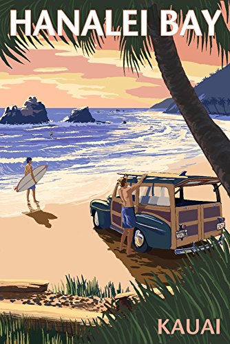 Hanalei Bay, Kauai, Hawaii - Woody on Beach (24x36 SIGNED Print Master Giclee Print w/ Certificate of Authenticity - Wall Decor Travel Poster) by Lantern Press