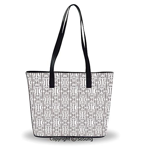 (Women's Tote Shoulder Bag,Grid Pattern with Squares Rectangles Abstract Design V )